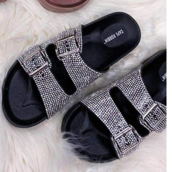d02929982ad Double buckle black sparkly sandals Billion dollar Boutique